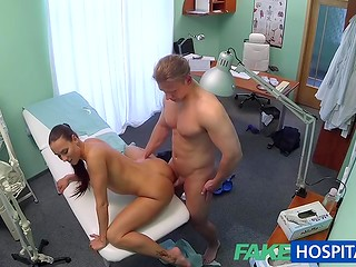 Young guy passed fucking medical examination with sexy nurse, while the doctor was dining