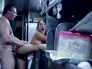 Astounding Asa Akira got her pussy roughly drilled by the owner of the trailer