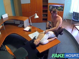 Hidden camera recorded how brunette nurse in stockings entertained the first patient