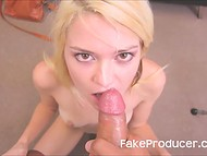 Blonde slut performed the porn agent a perfect mouthjob with deepthroat elements 11