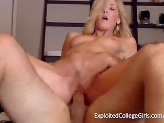 Blonde college girl eats pizza covered in cum