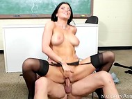 Student fucks his busty teacher in stockings, because he wants only the highest grades