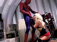 Spider-Man is using his super phallus to rescue sexually famished Catwoman