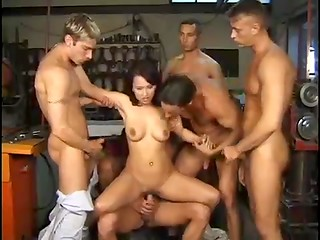 Awesome gangbang and great facial bukkake