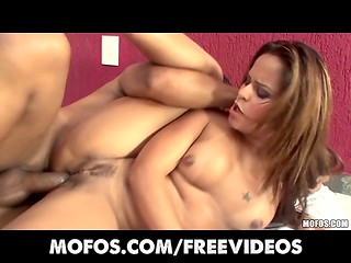 Latina MILF with small tits enjoyed being fucked by the proud owner of the huge cock