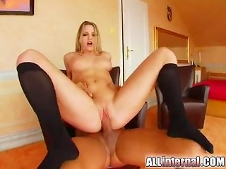 Teen miss in cute socks were filled with man's hot jizz after long and pleasant fucking