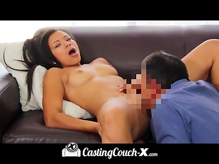 Thoughtful agent covered the cute face of amateur girl with healing milk at the casting