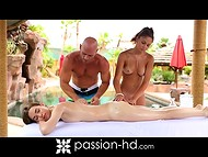 Exotic massage ended with passionate threesome sex and a small amount of semen in mouth