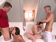 Unforgettable group sex of two hot cats and their fellows in the attic