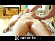 After relaxing massage girl was agree for playful continuation with hot master 4