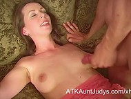 Dirty-minded female with extremely hairy cunt fucked by her gracious neighbor