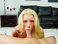 Blonde Addison Avery sat down on the penis after she has moistened it with her mouth 3