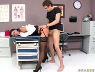 Seductive doctor with massive juggs knows the best method of treatment for handsome patients 6
