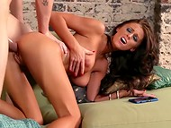 Tanned mistress spreads her legs for a nimble fellow with long member