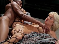 Busty mature Tara Holiday in beautiful stockings having fun with black-skinned phallus