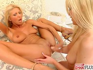 Blonde lesbians used many methods of self-pleasing including even deep fisting