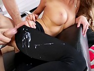 Wild guy came on the black pantyhose of August Ames after great fucking process 10