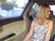 Awesome chick didn't refuse to take care of driver's cock on the way to home