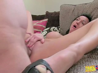 Black-haired bimbo with perfect breasts believed fake agent and got fucked by him once again