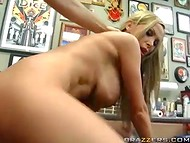 Astounding Nikki Benz wanted to do some tattoo, but instead had fun with the master 11