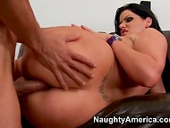 Impudent brunette Angelina Castro forced cautious guy to fuck her on the couch 7