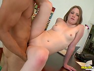 Latina agent having fun with the pussy of creamy skinned girl that came to the casting