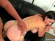 Delicious woman with giant natural performed sexual acts on cam at the audition 9