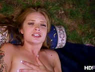 The POV video with look like a million dollars woman and her sweetheart outdoors in the night 11
