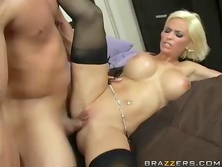 Muscular youngster tried his best to appease such an arousing chick with big boobs