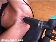 Anniversary model of the sex machine was tested on the brunette's tight vagina by naughty lesbian  10