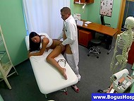 Doctor makes this young brunette babe blissful during the unforgettable medical examination