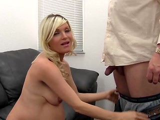 Blonde pregnant bitch is being interviewed and then screwed by two men