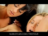 Three lesbians dulcify each other with their soft tongues and get intimated