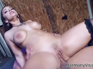 Gorgeous bitch in black stockings and with perfect forms allows man to do anything he wants