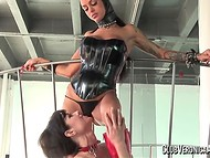 Perverted girlfriends in latex costumes are playing passionate fetish games