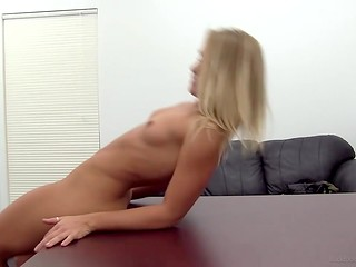 Long-legged blonde was ready to realize the conditions of her future boss at the casting