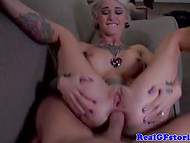 Alt blonde girl with hot tattoos all over her sexy body was fucked in the ass 8