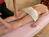Young student with braids enjoys man's touches in the massage salon 3