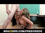 Big-boobed teacher had to work hardly with her mouth and pussy in order to please the janitor