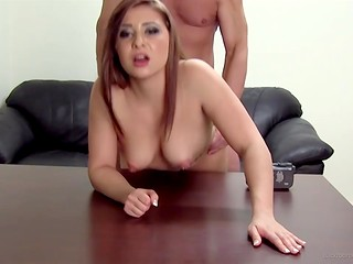 Backroom Casting Couch: big-eyed babe working hard with her V, because result is very important for her