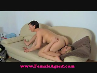 Short-haired female agent takes off her office uniform and buckles down to play with pretender's pussy