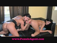 Female Agent: brunette model licking pussy and playing with sex toy during her very first porn casting 10