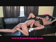 Female Agent: brunette model licking pussy and playing with sex toy during her very first porn casting 8