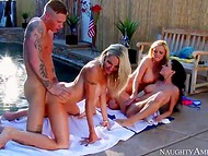 Young rich boy has sexual fun with three outstanding mistresse by the pool side