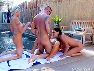 Young rich boy has sexual fun with three outstanding mistresse by the pool side 7