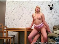 Young blonde slut and her fellow decided to film their first homemade porn 11