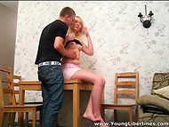 Young blonde slut and her fellow decided to film their first homemade porn 3