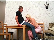 Young blonde slut and her fellow decided to film their first homemade porn 9