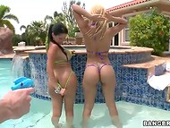 Crazy Diamond Kitty and Paris shake tasty titties in the pool