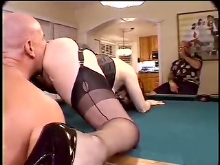 Old man with younger dude fuck redhead lady on the billiard table